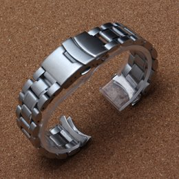 Wholesale Watchband 24mm - High quality matte and polish curved ends Solid stainless steel men's watch strap 18mm 20mm 22mm 24mm metal watchband accessories bracelete