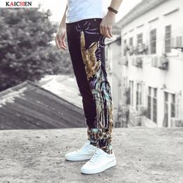 Wholesale Tiger Stripes Pattern - Wholesale-2016 New Men's fashion tiger print jeans Male slim fit denim pants Long trousers Free shipping Plus Size 28-36