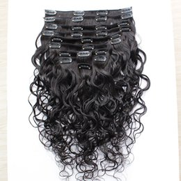 Wholesale best pure water - Best Quality 100G Brazilian Virgin Human Hair Clip In Extensions Virgin Hair Water Wave 10-30inch 8pcs set Free Shippment