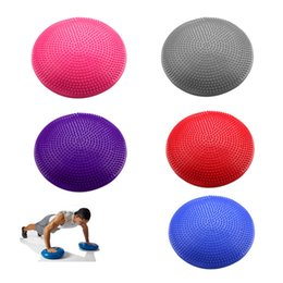 Wholesale Yoga Ball 75cm - Wholesale-2016 NEW YOGA STABILITY BALANCE BOARD GYM EXERCISE WOBBLE ANKLE KNEE AIR CUSHION PAD