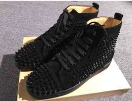 Acheter en ligne Chaussures habillées à rayures rouges-Black Velvet Sneakers Loubs Red Bottom Shoes Spikes Flat Hommes / Femmes Red Sole Sneakers, Luxury Party Dress Casual Shoes