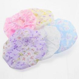 Wholesale Hair Thermal - Wholesale- 3 pcs Waterproof Plastic Lace Hat Protect Lady Hair Bath Room Shower Care Salon Colors Cap Fashion 2016 Color Randomly