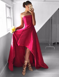 Wholesale Homecoming Charms - Chic Strapless High-Low Rose Pink Prom Dress Ruched Charming Sexy Homecoming Dress Formal Dress for Teens Junior Party Gowns