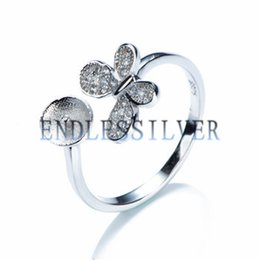 Wholesale Butterfly Pearl 925 - Ring Settings Blank Base Butterfly 925 Sterling Silver Zircon DIY Jewellery Findings Pearl Mounting for Pearl Party