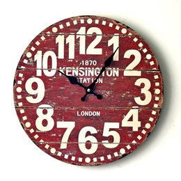 Wholesale London Wall Art - Wholesale- Newest Vintage Wooden Wall Clock London Style Digital Wall Watch Art Clocks Home Decor