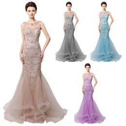 Wholesale Sexy Red Evening Gown Dress - Custom Made Open Back Gray Tulle Mermaid Evening Dresses Beading 2017 Real Photo Sheer Neck Women Prom Gowns Long Robe De Soiree LX006