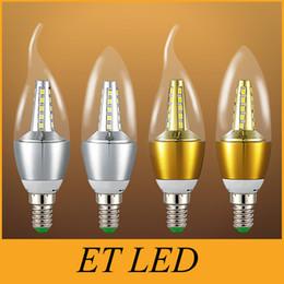 Wholesale E12 Chandelier - 5W AC110V 220V 2835smd Led Candle Bulb E12 E14 E27 Base Led Light LED Lamps Lighting Chandelier Bulbs Light Bullet Top  Bent Tip