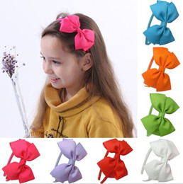 Wholesale Grosgrain Cotton - 20 COLORS Cute Grosgrain Ribbon Bowknot Girl Hairband Kids Silk Hair Bow Headband Headwear Sweet Hair band Hair Accessories