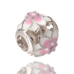 Wholesale Big Hole Beads Silver - Unique Pandora Shamballa Ball Charm Fine Silver Jewelry Big Hole Cubic Zirconia Beads ICPD054 Size 12*10.3mm
