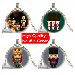 Wholesale Soldier Glasses - Christmas Gift Nutcracker Necklace Toy Soldier Art Pendant Necklace For Kids Anime Choker Necklace Women Men Fashion Jewelry NS039