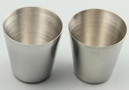 Wholesale Stainless Steel Shot Glass - Wholesale-30ml Portable Stainless Steel Shot Glasses Barware Beer Wine Drinking Glass Outdoors Cup