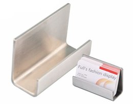 Wholesale Name Card Stand Holder - Free shipping Modern Stainless Steel Business Card Holder Name Card holders note holder Display Stand Satin Finish Luxury Desktop Stand Case