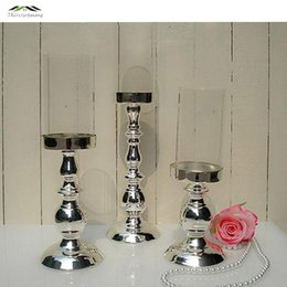Wholesale Glass Pillar Candle Holders Wholesale - 3pcs lot New metal silver finish candle holders with glass stand pillar candlestick for wedding decoration portavelas candelabra WD 46