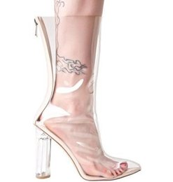 Wholesale Transparent Crystal Boots - Summer new ladies high heels shoes woman sandals Rome women pump shoes transparent zipper crystal thick female bare boots