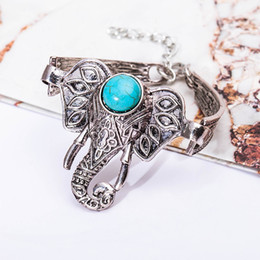 Wholesale Turquoise 14k Jewelry - Wholesale- Antique Silver Color Bracelets Elephant Charm Link Chain Turquoise Beads Cuff Bangles Women Men Jewelry Wristband Adjustable