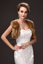 Wholesale Short Sleeve Wedding Jackets - Stock Brown Faux Fur Short Jackets For Winter Special Occasions Sleeves Cheap Women Wedding Wraps 2018 Online Sale CPA912