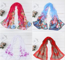 Wholesale Gold Noble Weave - 4 seasons women fashion chiffon scarves noble and graceful peacock or ink wash painting design sunscreen sea beach women kerchief or cappa