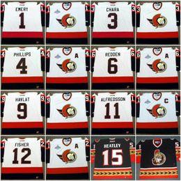 Wholesale Phillips Blue - Ottawa Senators Jersey 1 DANIEL ALFREDSSON 2007 1 RAY EMERY 3 ZDENO CHARA 4 CHRIS PHILLIPS 6 WADE REDDEN Vintage Throwback Hockey Jerseys
