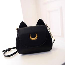 Bolso de gato negro online-Al por mayor-2016 Primavera Verano Limited Sailor Moon Bag Ladies Handbag Negro Blanco Cat Luna Moon Mujeres Messenger Crossbody Bolsa