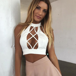 Wholesale Crop Lace Tops - Women's Tanks & Camis Lace up summer women tank top backless fitness hollow out sleeveless shirt halter tops cropped feminino fashion tanks