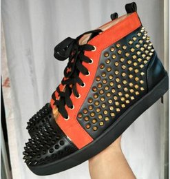 Wholesale Strass Crystal Shoes - 2017 new orange black genuine leather Sneaker Party Birthday Shoes red bottom high top louflat Strass Men's Flat Scintillating Crystals 3