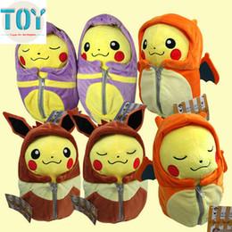 Wholesale Kids Sleeping Bags Boys - New 1 PCS Poke Pikachu Cosplay Charizard Ichiban Kuji Nebukuro Eevee Sleeping Bag Ekans 25cm Plush Doll Cartoon Kids Toys
