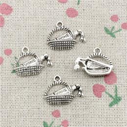 Wholesale Basket Antique - 60pcs Charms Jewelry wine picnic basket 19*15mm Antique pendant ,Zinc Alloy Ancient Sliver DIY Craft Necklace Bracelet Accessories
