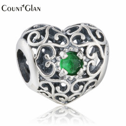 Grünes kristallherzarmband online-925 Sterling Silber Mai Openwork Herz Perlen mit Royal Green Crystal Birthstone Charms für Armbänder DIY Schmuck machen