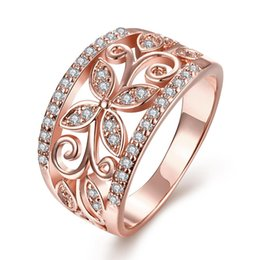 Wholesale Ladies Gold Plated Rings - High Quality Nickle Free Antiallergic New Fashion Jewelry 18K Gold Plated Zircon Ring Rose Gold Plated Ring for Lady Party Size 7 8 KZCR098