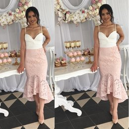 Wholesale Dress For Party Reception - Dubai Spaghetti Strap High Low Formal Dresses Blush Lace Mermaid Prom Dresses For Weddings Guest Cheap Women Party Gowns Reception Dress