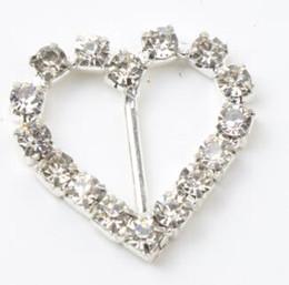 Wholesale Silver Heart Buckle Slider - 60pcs lot 10mm Bar 20mm Small Heart Rhinestone Buckles Invitation Ribbon Slider Wedding Supply Supplies Weddings Events