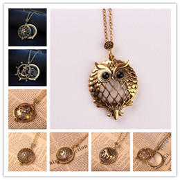 Wholesale Vintage Cat Black Chain - 11 Styles Vintage Gold Color Sweater Pendant Necklace Tree Flower Cat Dragonfly Owl Necklace Can Opened Magnifying Glass Pendant for Reading