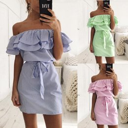 Wholesale Ladies Dress Shirts - Robe Femme Women Pink Striped Ruffles Off Shoulder Dresse Shirt 2017 European Fashion Lady Bodycon Sexy Summer Dresses Plus Size