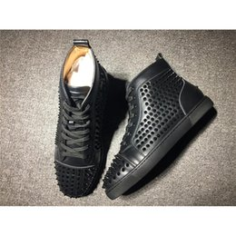 Wholesale Wholesale Spikes For Shoes - Black High Top Studded Spikes Casual Flats Shoes Red Bottoms Luxury Shoes New For Men Women Party Designer Sneakers Lovers Genuine Leather