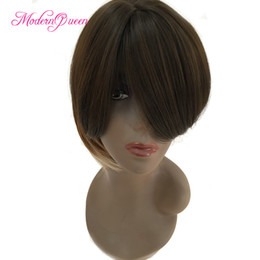 Wholesale Three Tone Wigs - Wholesale Short Bob Ombre Hair Wigs for Fashion Women Three Tone Cut Synthetic Hair Wig With Bangs Cheap Newest America Europe Style Wig