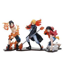 Uma peça miúdo luffy figura on-line-3 pçs / lote anime one piece luffy ace sabo pvc figuras colecionáveis modelo kids toys com caixa 9-14 cm