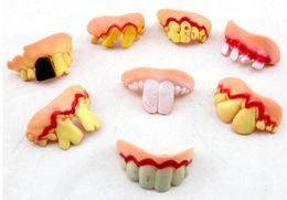 Wholesale Denture Funny - 400pcs Terrible Funny Goofy Fake Teeth Dentures Halloween Party Favor Rotten Trick Tricky Fake Tooth Teeth Vampire Denture Prank Prop Toy