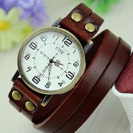 correa de cuero larga relojes mujeres Rebajas Cool man women Leather Bracelet Watch Ultra Correa Larga Retro dos Numeral Dial Case Cuarzo Reloj Hombres Vintage Vestido Reloj Hombre Reloj