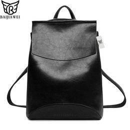 Wholesale waxed backpack - Wholesale- BAIJIAWEI 2017 Women Backpack Oil Wax PU Leather Bags Travel&Casual Backpacks Big Capacity Girl School Backpack College Style