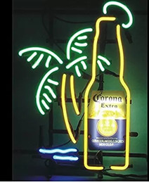 Wholesale Residential Glass Walls - New Corona Extra Bottle Palm Tree Sign Handcrafted Real Glass Neon Light Sign Home Beer Bar Pub Recreation Room Wall Sign 19x15 inches