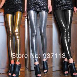 Wholesale Leggings Metallic - Wholesale- Hot Sale New Arrival Women Sexy Shiny Metallic Leggings Pants Faux Leather Stretchy Leggings Punk Stylish Nightclub Pants