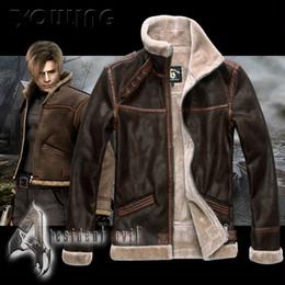Wholesale Biohazard Costume - Wholesale- Biohazard Resident Evil 4 Leon S Kennedy Costume Leather Coat Jacket Cosplay PU Faur Jacket Long-sleeve Winter Outerwear Coat
