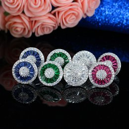 Wholesale Earrings Colorful Stones - Luxury Fashion Pizza Stud Earrings Colorful CZ Stone Diamond Paved Women Bijouterie Brazil Classical Jewelry For Party Brass Aretes Earring
