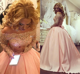 Wholesale Gold Sparkly Shirt - Arabic Dubai Plus Size Ball Gown Prom Dresses Long Sleeves Crystal Appliques Satin Blush Pink Sparkly Evening Gowns Formal Dress