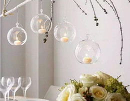 Wholesale Hanging Glass Tealight Holders - Hanging glass candlestick glass ball candle holder wedding home decoration can be placed electronic candle glass candlestick 8cm 10cm 12cm
