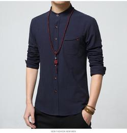 Wholesale Shirt Mens Cotton Polyester - 5XL Cotton Linen Men Shirt New 2016 Stand Collar Casual Male Shirt Slim Fit Mens Shirts Long-Sleeve Camisa Hombre MC250
