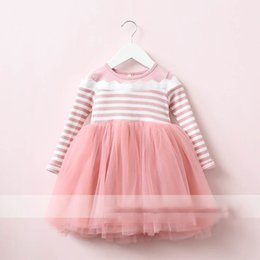 Wholesale Korean Dress Fashion Black Color - Everweekend Girls Tulle Ruffles Striped Dress Cute Baby Pink and Black Color Clothes Princess Korean Fashion Autumn Party Dress