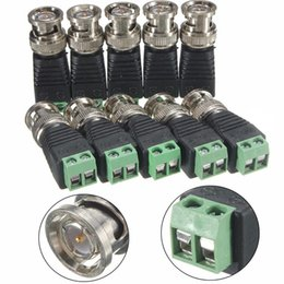 Wholesale Coax Cable Connector Adapters - 50pcs Male Coax CAT5 To Coaxial BNC Cable Connector adapter Camera CCTV Video Balun