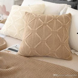 Wholesale Nordic Knitted - Pillow Case Soft Cotton Knitted Solid Color Sofa Back Cushion Wool Knit Decor Square Pillowcase Nordic Style Cover 26xz F R