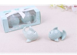 Wholesale Ceramic Fish - 100SETS=200pcs Kissing fish Salt Pepper shaker The Perfect Pair Wedding favors and gifts Free shipping